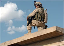 image of service member in Iraq