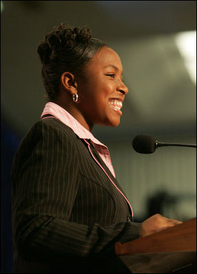 Sarah Tucker reads her award winning essay, Thursday, Oct. 27, 2005 at Howard University in Washington, at the White House Conference on Helping America's Youth.