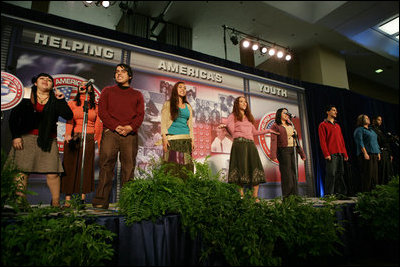 The performance Will Power to Youth is staged, Thursday, Oct. 27, 2005 at Howard University in Washington, at the White House Conference on Helping America's Youth.