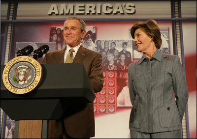 President George W. Bush and Mrs. Bush offer their welcoming remarks, Thursday, Oct. 27, 2005 at Howard University in Washington, to open the White House Conference on Helping America's Youth.