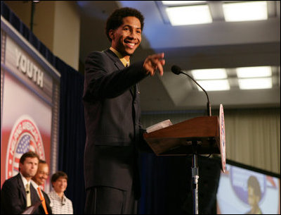 Teen dad, Jason Buck, addresses the audience, Thursday, Oct. 27, 2005 at Howard University in Washington, at the White House Conference on Helping America's Youth.