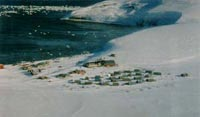 Aerial view of rural Alaskan village