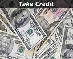 "Pile of Paper Money - "" Take Credit"""
