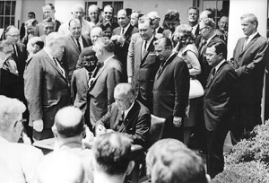 The Older Americans Act was originally signed into law by President Lyndon B. Johnson on July 14, 1965.