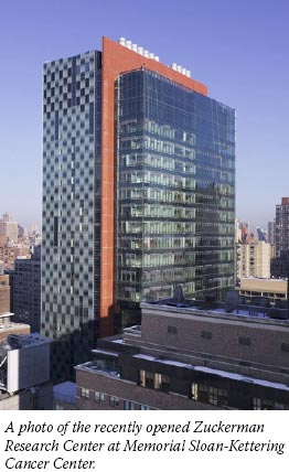 A photo of the recently opened Zuckerman Research Center at Memorial Sloan-Kettering Cancer Center.