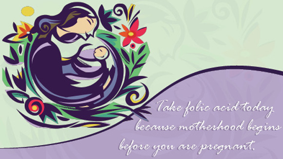 This card shows an illustration of mother and infant and says,