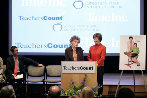 """Mrs. Laura Bush stands with her second grade teacher, Charlene Gnagy, as Mrs. Gnagy speaks to the audience Thursday, October 5, 2006, during the TeachersCount """"Behind every famous person is a fabulous teacher"""" PSA campaign launch ceremony in New York City. The campaign is to help create awareness for teachers and the role they play in the lives of children and to raise the status of the teaching profession. White House photo by Shealah Craighead"""