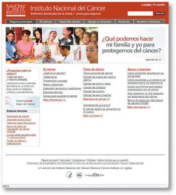 image of NCI's new Spanish-language Web site