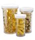Dietary supplement pills in bottles