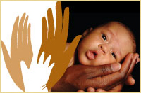 A healthy baby begins with you logo with an infant gently held in hands