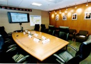A photograph of the executive briefing room of CDC's new Emergency Operations Center.
