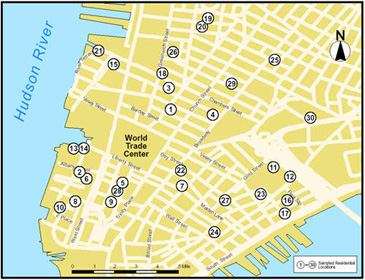 Lower Manhattan Air and Dust Sampling Approximate Locations