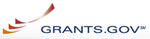 grants.gov in blue letters on white background with three reddish stylized color slashes to the left