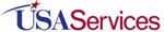 USA Services in red and blue letters on white background. A red star with blue tail shoots over the initials USA