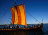 A replica of a Viking ship sails in the Roskilde, Denmark fjord, May 5, 2007. [© AP Images]