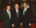 Senators Tom Daschle and Trent Lott welcome George Mitchell.