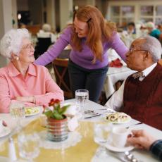 Photograph of lunch at an assisted living facility