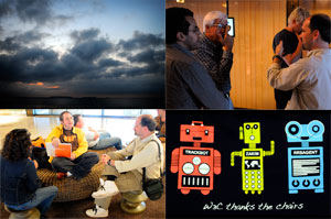 Four Scenes from TPAC: sunrise, two hallway discussions, irc bots shown on Chairs T-shirt