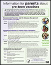 Flyer: Information for Parents about Pre-teen Vaccines (English)