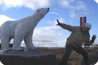 Cesar with a polar bear statue