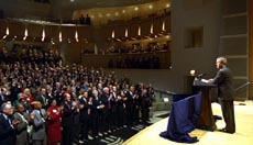 President Bush delivers remarks to Cabinet and Sub-Cabinet Members in the Ronald Reagan Building and International Trade Center in Washington, D.C. on Dec. 16, 2002.  White House photo by Paul Morse.