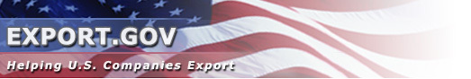 Export.gov - Helping U.S. Companies Export (text is in front of American flag)