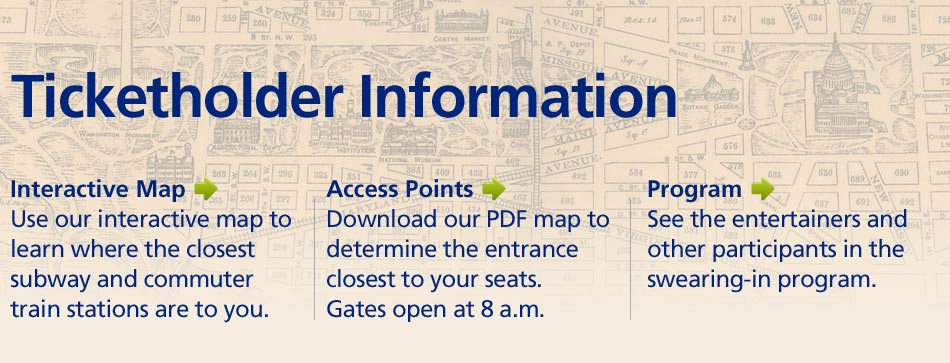 The latest ticketholder information, including an interactive map, a downloadable PDF map, and the program