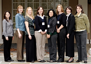 Picture of the Karen Wetterhahn Awardees at the 2007 SBRP annual meeting in Durham NC.  From left to right: Roxanne Karimi, Alicia R. Timme-Laragy, Tiffany Bredfeldt, Anne Spuches, Monica Mendez, Elena Craft, Blakely M. Adair, and Sheila Healy