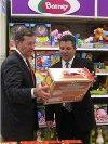 "Secretary Leavitt tours a Toys""R""Us store outside of Los Angeles."