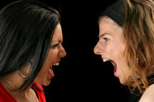 two girls arguing face to face