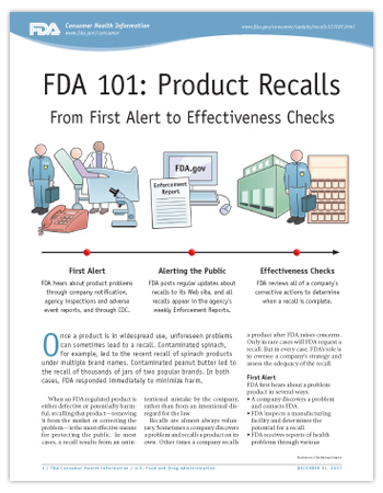 Cover page of PDF version of this article, including a graphic digram of icons illustrating the three stages of a recall: First Alert, Alerting the Public, and Effectiveness Checks.