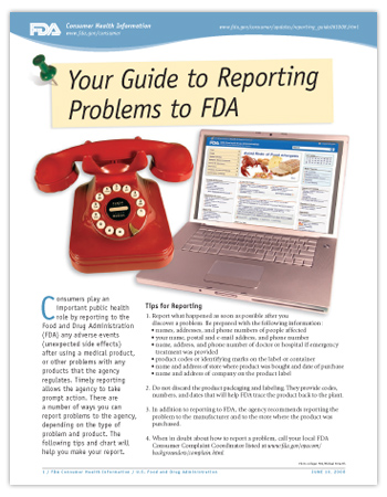 Cover page of PDF version of this article, including photo of a telephone and a laptop computer with the FDA home page displayed on the screen.