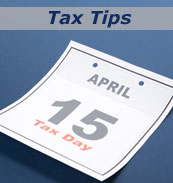 Tax tips and image of April 15 on a calendar.