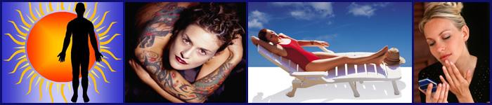 Logo image plus tattoo, sunbather, and cosmetics application