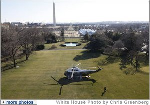 President George W. Bush strides to Marine One Friday, Jan. 16, 2009, as he prepares to depart the White House for Camp David from the South Lawn. White House photo by Chris Greenberg