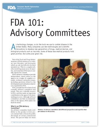 Cover page of PDF version of this article, including photo of an FDA Advisory Committee meeting showing serious looking people around a big table, with papers and microphones.