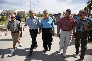 President George W. Bush walks hand-in-hand with Galveston Mayor Lyda Ann Thomas Tuesday, Sept. 16, 2008, during a visit to the Texas area hard hit by last weekend's Hurricane Ike. Walking with them from left are: Charlie Kelly, Emergency Manager Coordinator for the City of Galveston; President Bush, Mayor Thomas, Steve LeBlanc, Galveston City Manager and Texas Congressman Nick Lampson. White House photo by Eric Draper