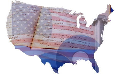 graphic in the shape of the continental United States of America