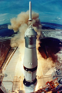 Fisheye view from the launch tower of the Apollo 11 Saturn V, seconds after first-stage ignition on July 16, 1969.