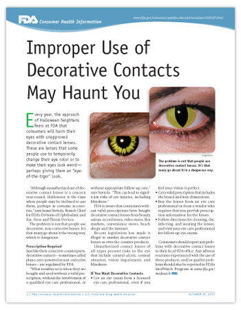 Image of the first page of the printer-friendly PDF version of this article, including two close-up photos of people wearing  decorative contact lenses.