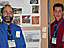 Teacher Mr. Moore stands to the left of a student poster project showing various satellite images of different locations as a student stands to the right of the project
