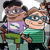 Two children wearing protective eyewear