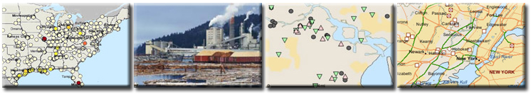 four images, of a map image, an industry, a TOXMAP trends map,a TOXMAP Superfund map
