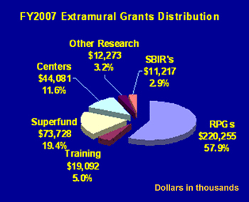 FY2007 Extramural Grants Distribution. Centers $44,081 (11.6%), superfund $73,728 (19.4%), Training $19,092 (5.0%), RPGs $220,255 (57.9%), SBIRs $11,217 (2.9%), Other Research $12,273 (3.2%).