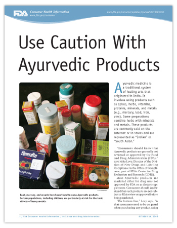 Cover page of PDF version of this article, including photo of ayurvedic products.