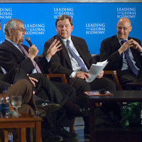 Photo: Paulson moderated a forum at George Washington University hosted by the Organization for International Investment on the importance of foreign investment.
