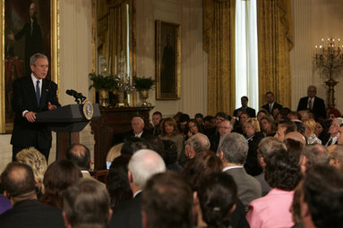 "President George W. Bush speaks to representatives from the Small Business Administration's National Small Business Week Conference Wednesday, April 23, 2008, in the East Room of the White House. The President told his audience, ""I love it when people can say, I have a idea, and I am going to apply all my talent and all my effort to see the idea come to fruition. It is what made us great in the past, it's what makes us great today, and what is going to make us great in the future."" White House photo by Patrick Tierney"