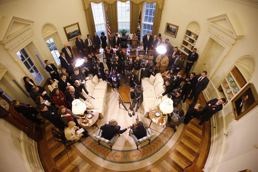 President George W. Bush welcomes Mexico's President Felipe Calderon to the Oval Office at the White House, seen in this remote camera view, Tuesday, Jan. 13, 2008, during their joint press availability. White House photo by Eric Draper