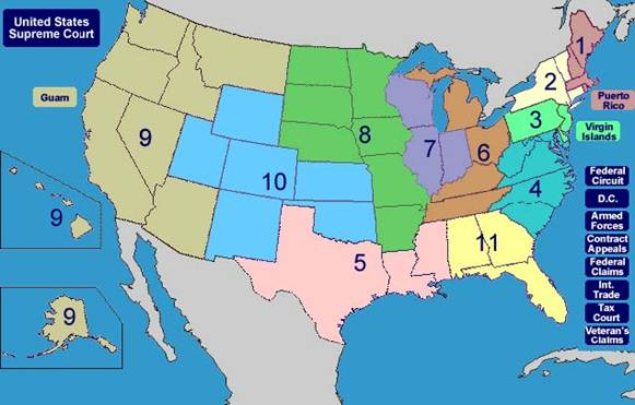 The map image of The 13 U.S. Circuit Court of Appeals.