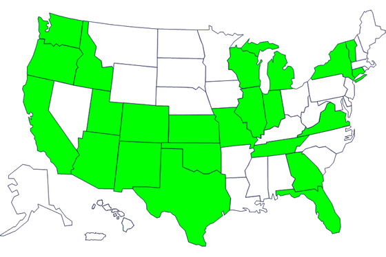 States with persons with the outbreak strain of Salmonella Saintpaul, by state of residence.